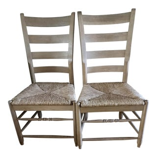 Pair of Natural Wood Italian Gio Ponti Style Ladder Back Chairs