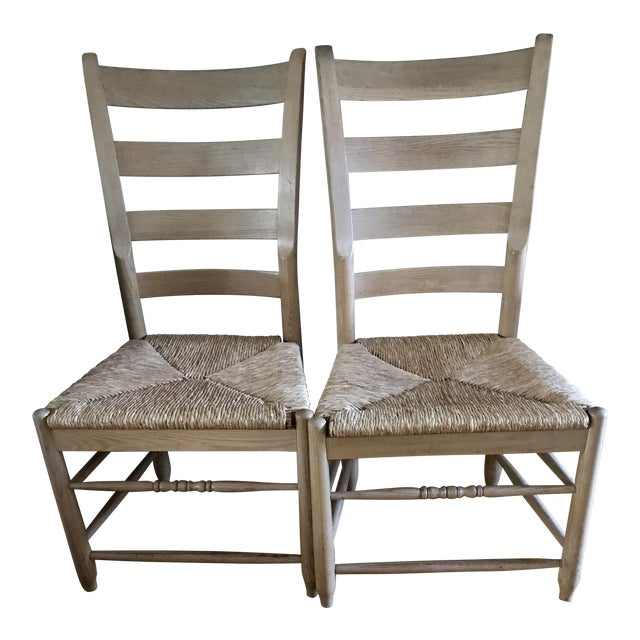Pair of Natural Wood Italian Gio Ponti Style Ladder Back Chairs - Image 1 of 10
