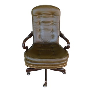 Hancock & Moore Tufted Leather Executive Swivel Base Arm Chair