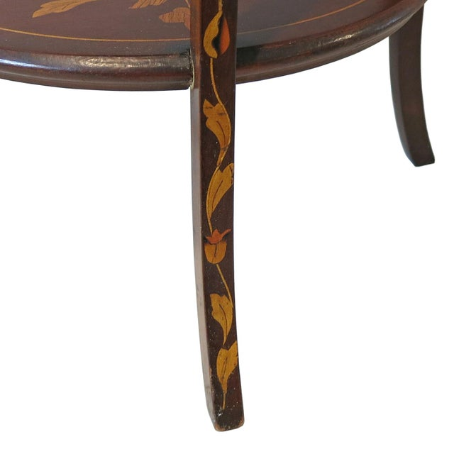 Late 19th Century Antique Marquetry Inlaid Mahogany Muffineer Stand For Sale - Image 4 of 5