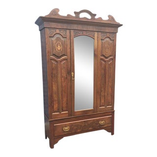 Antique French Inlaid Mahogany Armoire For Sale