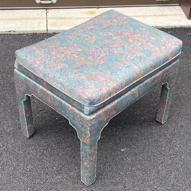 Modern 1980s Fully Upholstered Floral Bench For Sale - Image 3 of 13
