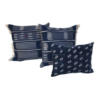 African Handwoven Indigo Striped Ikat Fringed Pillows - S/3