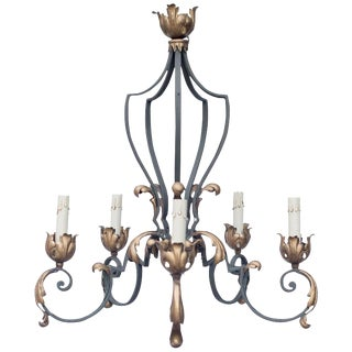 Early 20th Century French Iron Chandelier For Sale