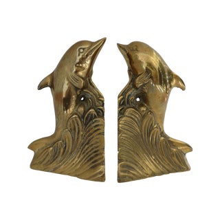 Brass Dolphin Bookends For Sale