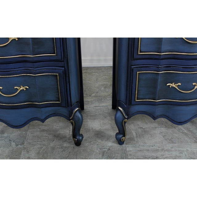 Metal 1960s Blue French Provincial Nightstands - a Pair For Sale - Image 7 of 10