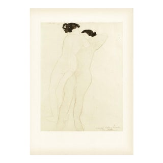 "1950s Vintage ""Two Nudes"" Lithograph by Auguste Rodin For Sale"