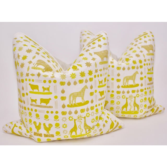 "Lulie Wallace ""Two by Two"" Square Pillows in Citron - a Pair For Sale In Atlanta - Image 6 of 6"
