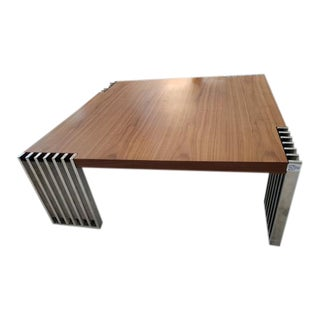 Vintage Chrome & Wood Coffee Table For Sale