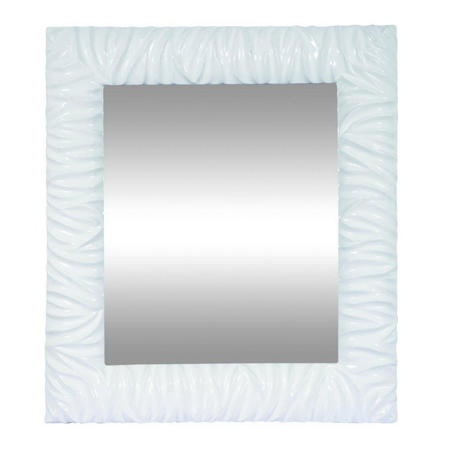 """New contemporary wood and glass rectangular mirror. Materials : Wood, glass Measurements: 33"""" h x 29"""" w x 2"""" d, 13 pounds"""