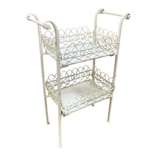 1950s 2-Tier Cream Painted Metal Plant Stand For Sale