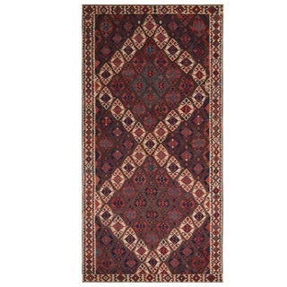 Vintage Mid-Century Van Beige-Brown and Red Wool Kilim Rug- 4′10″ × 9′2″ For Sale