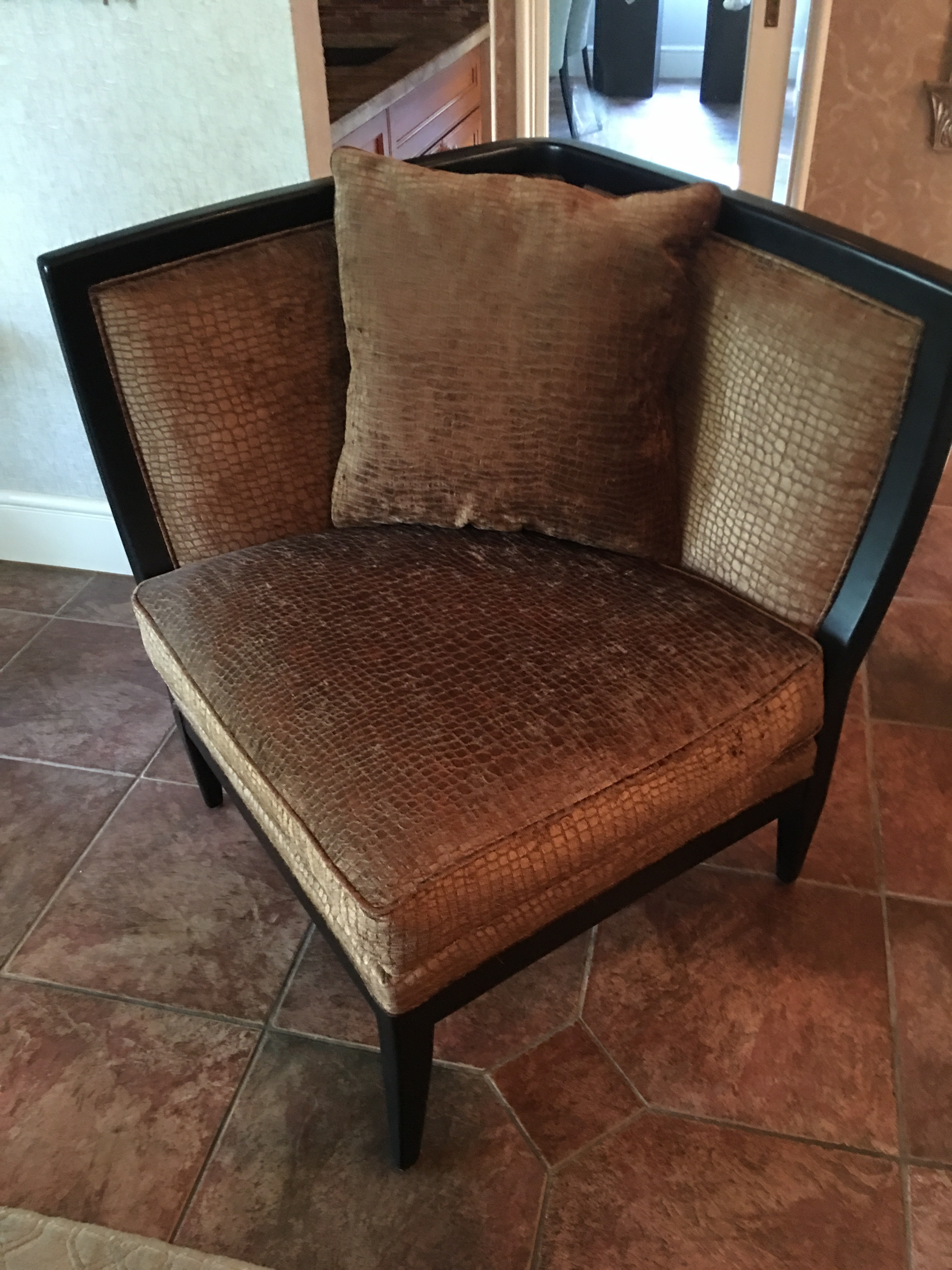 Large Dark Gold Reptile Pattern Chairs By Century Furniture. 2 Available,  Sold Individually.