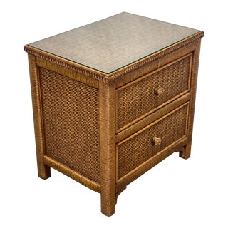 Vintage Henry Link for Lexington Woven Wicker Nightstand For Sale