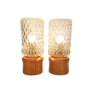 Danish Modern Teak and Glass Accent Lamps - a Pair For Sale