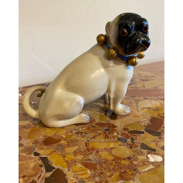 """Exquisite standing 19th century German porcelain pug with bell collar. 11"""" Wide x 4.5"""" Deep x 8.5"""" High"""