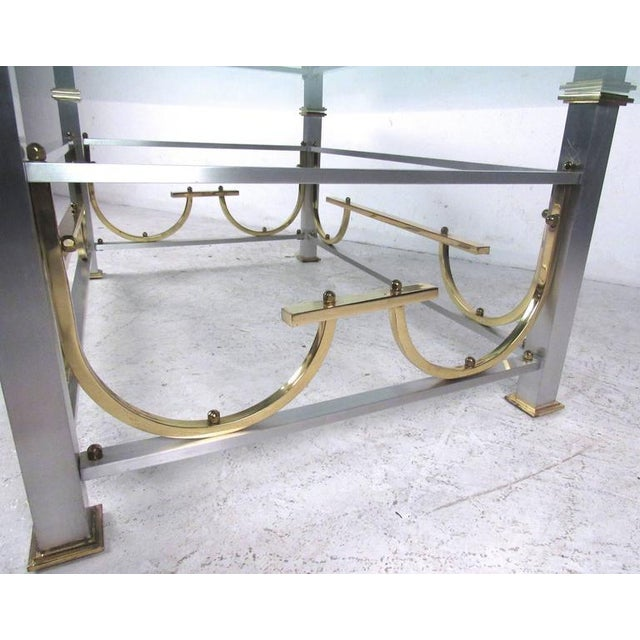 Mid-Century Modern Maison Jansen Style Chrome & Brass Coffee Table For Sale In New York - Image 6 of 10