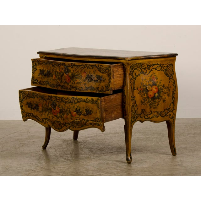 Bronze Italian Louis XV Rococo Style Antique Painted Bombè Chest circa 1885 For Sale - Image 7 of 10