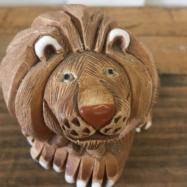 Mid-Century Clay Lion Sculpture - Image 7 of 10