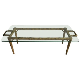 Hollywood Regency Bamboo Style Cocktail Table For Sale
