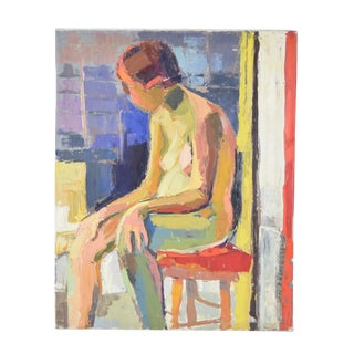1970s Vintage Lars Birger Sponberg Seated Nude Oil Painting For Sale