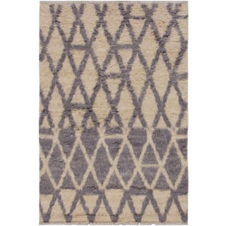 1990s Bauhaus Moroccan Stackhou Grey Wool Rug - 3′10″ × 5′9″ For Sale