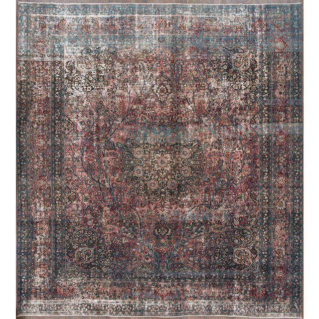 "Early 20th Century Apadana - Antique Persian Tabriz Rug, 12'10"" X 11'9"" For Sale - Image 5 of 5"