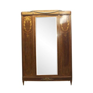Early 20th Century Antique French Deco Walnut Mirrored Armoire For Sale