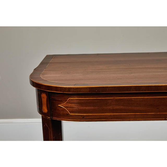 Brown 19th Century English Mahogany Inlaid Console Table For Sale - Image 8 of 9
