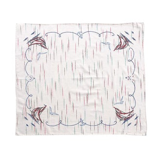 1940s Nautical Sailboat and Anchor Nautical Linen Table Cloth For Sale