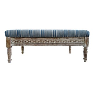 Indigo Striped Ottoman For Sale