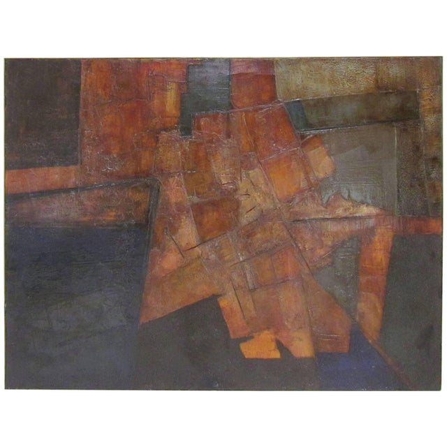 Brutalist Abstract Modernist Painting by Berkshire Artist John Stritch, 1963 For Sale - Image 10 of 10
