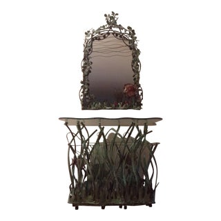 Vintage Copper Sea World Console Table & Mirror Set For Sale