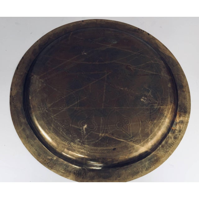 Moroccan Polished Round Brass Tray For Sale - Image 4 of 13