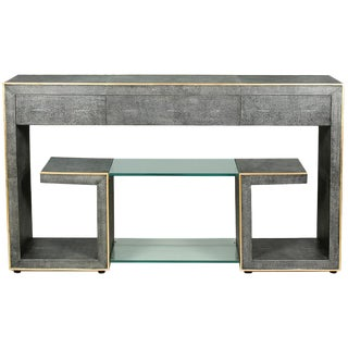 Sarried Ltd Gray Leather Shagreen Greek Key Console