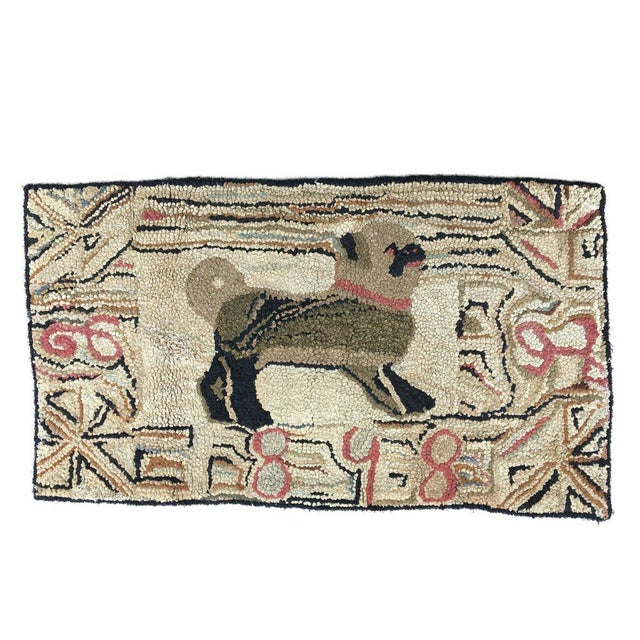 Late 19th Century 19th Century Pug Hooked Rug For Sale - Image 5 of 5