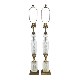 Frederick Cooper Crystal Column Lamps - Pair