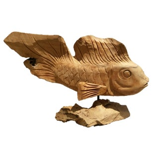 Carved Teak Fish Sculpture