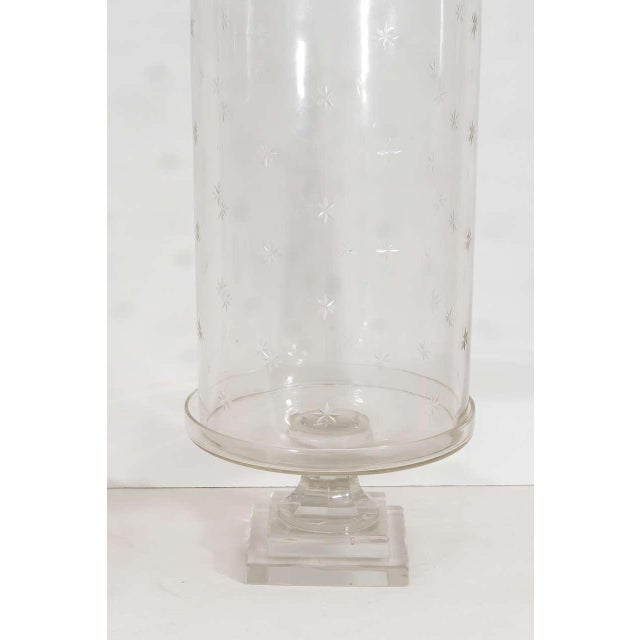 Pair of Tall Glass Hurricanes For Sale - Image 4 of 8