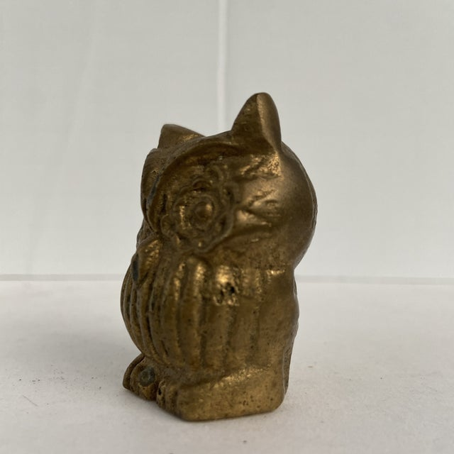 Brass Vintage Mid 20th Century Tiny Brass Owl For Sale - Image 8 of 12