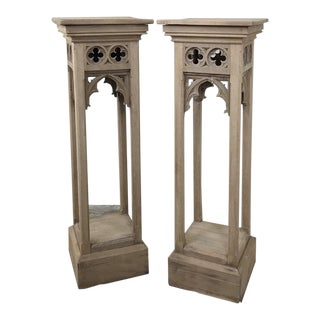 Pair 19th Century Gothic Stripped Oak Pedestals For Sale