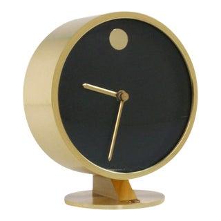 1970s Nathan George Horwitt for Howard Miller Brass Table Clock For Sale
