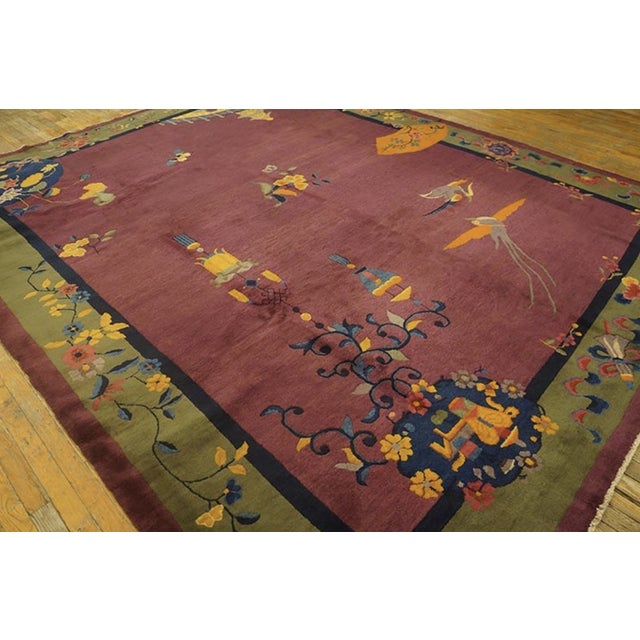 """Purple Antique Chinese Art Deco Rugs 9'2"""" X 11'8"""" For Sale - Image 8 of 11"""