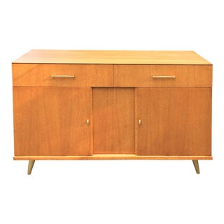 Mid Century Compact Maple Sideboard Buffet on With Brass Pulls and Legs For Sale