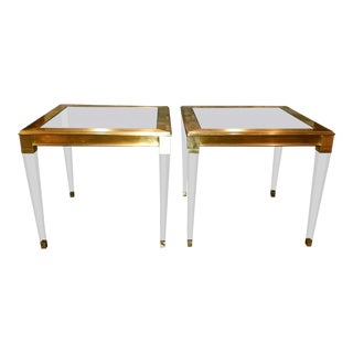 Modern History Soho Brass End Tables - A Pair