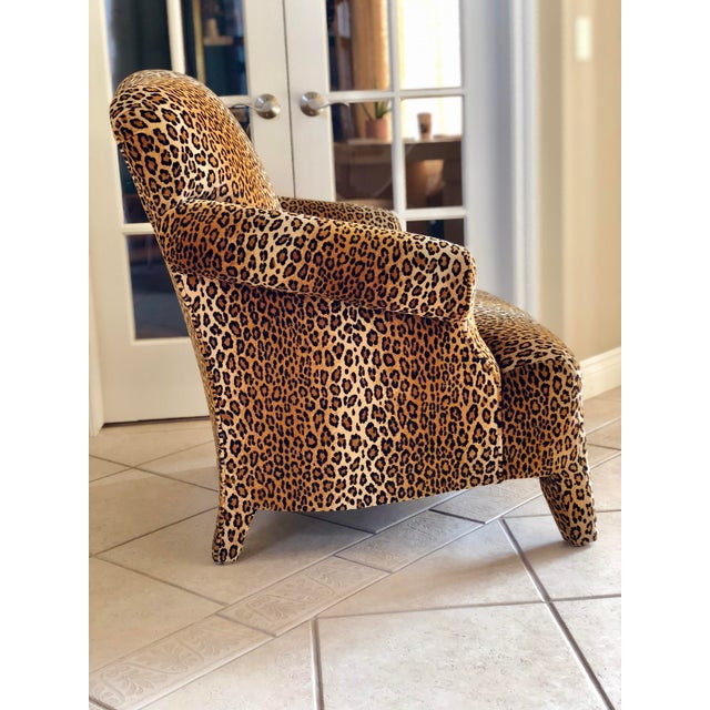 Hollywood Regency 1980s Hollywood Regency Cheetah Roll Arm Chair For Sale - Image 3 of 9