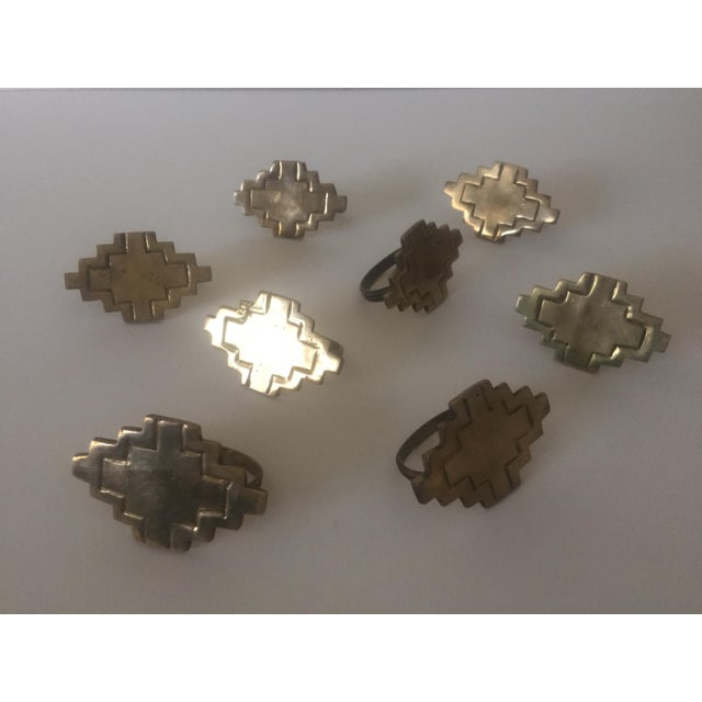 Vintage Brass Modernist Geometric Napkin Rings - Set of 8 - Image 6 of 7