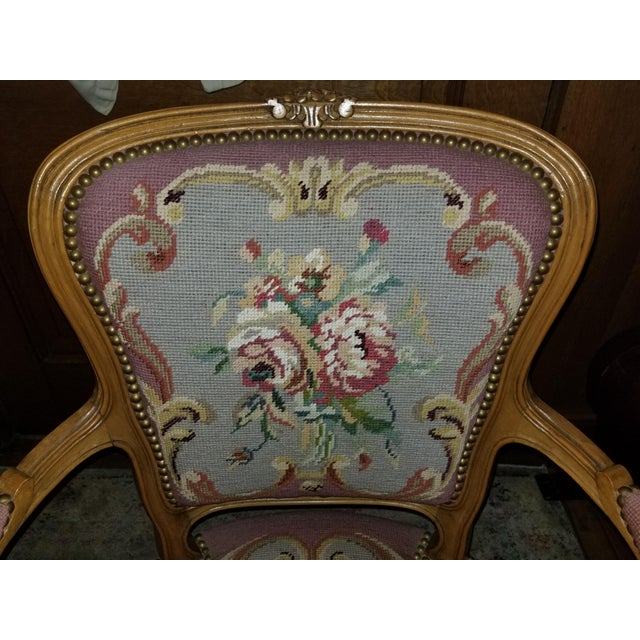 1960s 1960s Vintage Needlepoint French Chairs - a Pair For Sale - Image 5 of 11