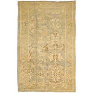 Large Turkish Donegal Rug With Ivory & Brown Floral Patterns For Sale