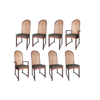 1980s Vintage Caned Back Dining Chairs by Milo Baughman- Set of 8 For Sale